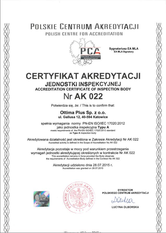 Certyfikat akredytacji 2019